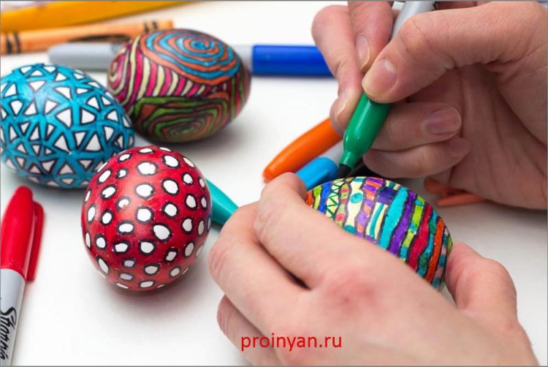 яйца крашенные узоры маркером фото